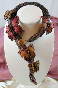 """Wings at Dusk"" embroidered silk necklace by Lauren Elise on Etsy."