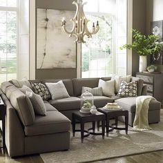 Furnitures, : Comfy Large Gray U Shaped Sectional Sofa With Contemporary Chandelier Lamp Living Room Lighting And Double Small Coffee Table Set