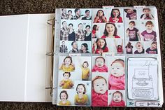fun title page idea. snapshots of the family and cute little pull tabs that tell facts about them!