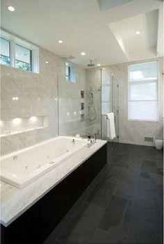 slate flooring Montauk Black Slate Design Ideas, Pictures, Remodel, and Decor; Slate Bathroom, Bathroom Renos, Bathroom Interior, Modern Bathroom, Bathroom Ideas, Hall Bathroom, Basement Bathroom, Bath Ideas, Bathroom Designs