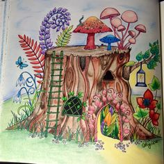 Tree stump house. Enchanted Forest, Johanna Basford.  cathyc.  pencil crayons.