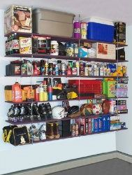 You can save floor space by using hanging shelves, such as these, in either you garage or basement.