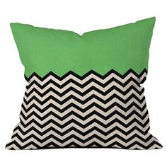 Green Chevron Pillow