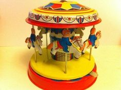 Merry go round Metal Tin Toy Wood Children Gift