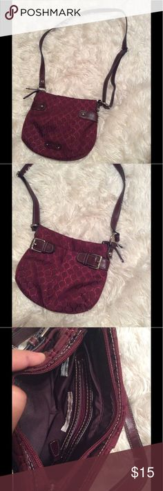 Nine West Bag Very cute shoulder bag / Crossbody. Ruby red pink colored with leather brown straps. Rave festival boho gothic punk indie girly. Worn once or twice lightly.   •Please feel free to make offers! ✅ BOGO $10& under! Sales through Posh only! I am able to model most items I have posted! If I haven't already- just ask 😊 Please ask for measurements if you need them! I include a small gift when gifts are available ☺️ Nine West Bags Crossbody Bags