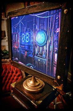 Custom made steampunk computer monitor. This was one of my first steampunk builds.