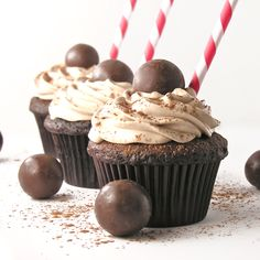 Malted Milkshake Cupcakes. These remind me of the ice cream floats we used to get in our town center when I was a kid called the Colonial Spa that gas since closed. It is fun to see recipes & ideas that bring back childhood memories!