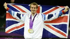 Great Britain's Andy Murray poses with his gold and silver Tennis medals on Day 9 at Wimbledon. Murray won the men's Singles competition beating Roger Federer and picked up his silver in partnership with Laura Robson in the Mixed Doubles. Andy Murray Olympics, Team Gb Olympics, 2012 Summer Olympics, Olympic Medals, Olympic Games, Tennis Photos, Tennis Stars, Dog Wear, Roger Federer