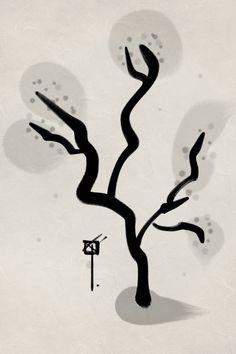 Sumi-e ink Japanese Apricot tree and Haiku.