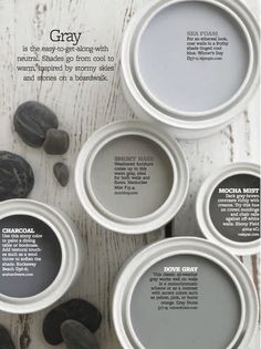 Color Personality: Stony Grays dove grey or smokey haze for upstairs Interior Paint Colors, Paint Colors For Home, Paint Colours, Dutch Boy Paint Colors, Modern Paint Colors, Interior Design, Paint Schemes, Colour Schemes, Wall Colors