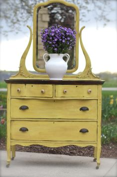 Furniture With Free Delivery Product Yellow Dresser, Colorful Dresser, Colorful Furniture, Cool Furniture, Painted Furniture, Yellow Painted Dressers, Distressed Furniture, Shabby Chic Furniture, Vintage Furniture