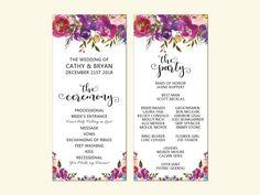 Wedding Program Card Boho Plum Floral Program Bohemian