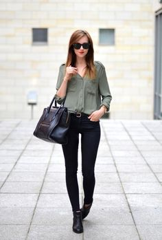 Olive and black outfit for fall