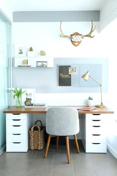 Living Room Office Combination Ideas Guest Room Home Office Ideas Small Home Office Guest Room Ideas Desk Idea Balance A Wooden Board Across Two Ikea Storage Cabinets And Boom You Have An Instant Desk