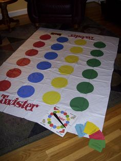 "Bible Skills Twister®:  Use an old ""Twister®"" game.  Develop Bible Skill questions and print them on yellow, green, blue, and red cards.  Allow the child to spin the spinner.  If the spinner lands on a yellow dot, the child must correctly answer a ""yellow"" question in order to complete the remaining instructions on the spinner. (left foot green, right hand red, etc.)"