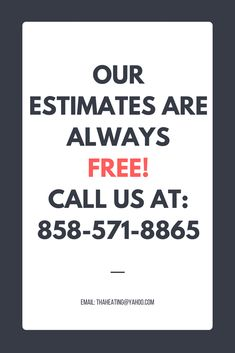 Call for a FREE estimate: 858-571-8865 Feel free to reach out via email: thaheating@yahoo.com #HVAC. #plumbing, HVAC Maintenance #SanDiego