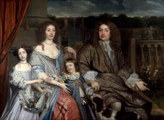 1673, The Family of Sir Robert Vyner.  John Michael Wright (1617–1694).  The sitters are Sir Robert (1631–1688) and his wife Mary (née Whitchurch, d.1674), the wealthy widow of Sir Thomas Hyde, whom he married in 1665; Bridget Hyde (1662–1734), Lady Vyner's daughter by her first marriage; and Charles Vyner (1666–1688), their only son.   National Portrait Gallery, London.