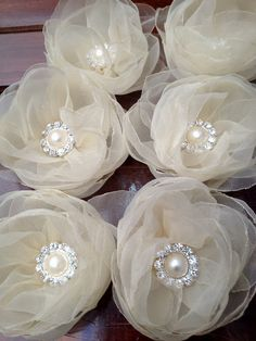 6 Pieces Ivory Organza Handmade Flowers with pearls by bidesign, $21.00