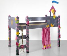 Home-Dzine - This do-it-yourself kids loft bed has a fairytale castle theme