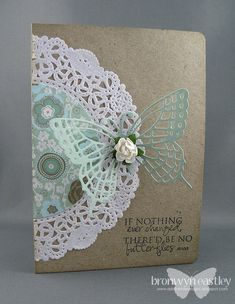 doily and butterfly card! lovely!
