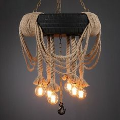 Artic Industrial Personal Hemp Rope Pendant Vintage Coffee Canteen Room Countryside Pendant Lamp – EUR € 478.79