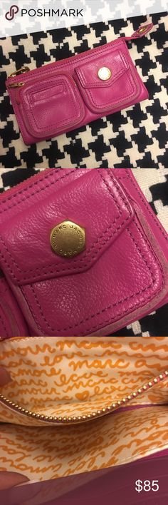 New MARC JACOBS pink leather zipper top wallet New MARC JACOBS hot pink leather zipper top wallet with front zippered coin pocket and key storage..,Love, amore themed canvas dividers for bills and credit card... substantial little bag with a PLACE FOR EVERYTHING! Little Marc Jacobs Bags Wallets