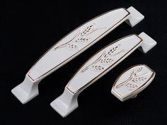3.78Dresser Pulls Handles Drawer Pulls Handles Ivory White Gold Furniture Hardware Kitchen Cabinet Knobs Pulls Handles Cupboard Handle Knob