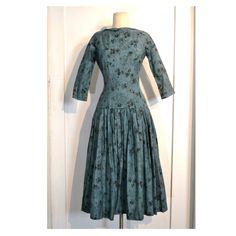 Vintage 1950's Dress // Blue w/ Dark Grey by villavillavintage, $158.00