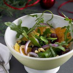 Appelsiini-sipulisalaatti Green Beans, Meat, Chicken, Vegetables, Food, Essen, Vegetable Recipes, Meals, Yemek