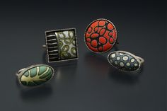 Angela Gerhard--enamel on copper and sterling silver