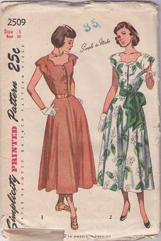 Quantity:          Simplicity 2509 Vintage 40's Sewing Pattern BEAUTIFUL Scalloped Neckline, Flard Skirt Shirtwaist Summer Day Dress & Sash Belt #MOMSPatterns