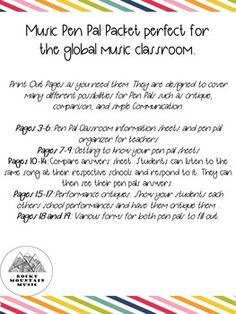 Music Pen Pal Packet by Rocky Mountain Music    Teachers Pay Teachers Music Teachers, Music Classroom, Classroom Activities, Teacher Pay Teachers, Mountain Music, Teacher Newsletter, Student, Teaching, Education