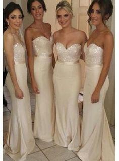 Sequins Sweetheart Floor Length Dresses