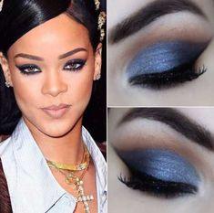 Maquiagem para madrinha vestido azul escuro