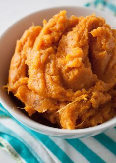 The perfect mashed sweet potatoes recipe! Add a little cinnamon, ginger, and nutmeg, for a flavorful and healthy side dish everyone will love!