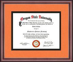 Oregon State University, University Of Maryland, University Certificate, University Diploma, Diploma Frame, Alma Mater, School Colors, Higher Education, Custom Framing