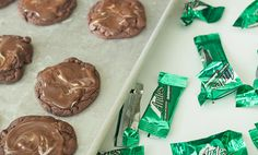 Andes Mint Cookie Recipe - This easy chocolate cookie recipe is a delicious family favorite. Melted Andes mints on top of delicious chocolate cookies.