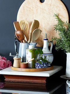 Beautiful—and useful—kitchen vignette of all the essentials.