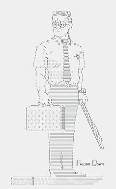 Falling Down by ness_rivera, 2012  This is Japanese style ASCII ART.I drew this with the text editor of Mac.I love this movie & him!I a...