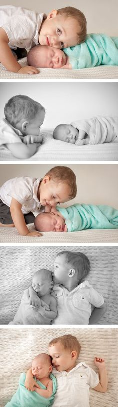 Posing for a newborn and older sibling.