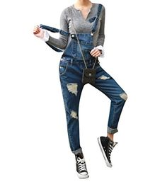 CBTLVSN Womens Long Pants Playsuit with Tie Waist Long Sleeves Loose Fit Denim Playsuits