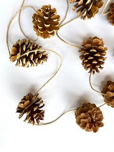 Excited to share this item from my shop: pinecone garland Natural Christmas Tree, Bohemian Christmas, Woodland Christmas, Christmas Fun, Pinecone Christmas Crafts, Diy Christmas Tree Garland, Yule Crafts, Pagan Christmas Tree, Minimalist Christmas Tree