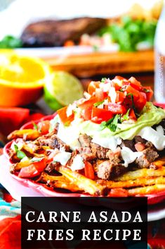 CARNE ASADA FRIES MIGHT BE THE MOST ADDICTING MEAL, APPETIZER OR GAME DAY FOOD ON THE PLANET! Carne Asada Fries are baked Mexican spiced French fries smothered in cheese and piled high with tender juicy marinated steak, salsa, avocado crema and whatever else your heart desires.  #carne #asada #french #frenchfries #fries #friesrecipe #recipe #food #healthyfood #carneasada Mexican Fries, Carne Asada Fries, Eat Healthy, Healthy Recipes, Appetizer Recipes, Appetizers, French Fries Recipe, Avocado Crema, Marinated Steak