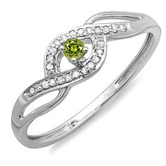 10K White Gold Round Light Colored Peridot And White Diamond Engagement Bridal Promise Ring (Size 6)	by DazzlingRock Collection