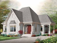 W3211 Small comfortabe affordable bungalow house plan garage