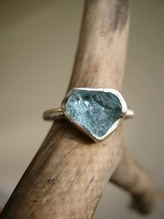 Rough Aquamarine Heart ring  Trillion Triangle  by metalmorphoz, $128.00
