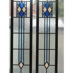 Art Deco stained glass   ... Edwardian Original Art Deco Stained Glass Exterior Door in Blue