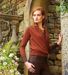 Crossover Cardi and silky scoop neck worn as an Autumn from Kettlewell Colours Winter Collection