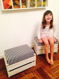 Puf caja de fruta Ideas Para, Bench, Crafty, Storage, Diy, Furniture, Home Decor, Fruit Crates, Recycled Furniture