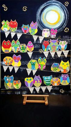 Collaborative owl art for school auction by Grade 3s. Hoot by Moonlight
